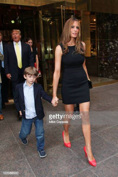 Melania Trump and son Barron Trump attend 'The Ultimate Merger' premiere at Trump Tower on June 14 2010 in New York City