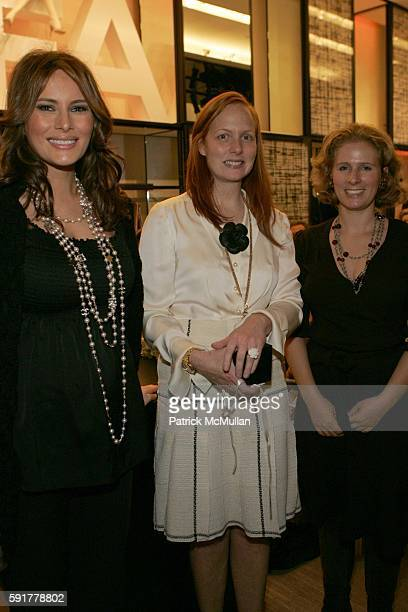 Melania Trump Anne Grauso and Nathalie Kaplan attend The Camellia Luncheon Sponsored by Chanel to benefit The New York Botanical Garden at Chanel on...
