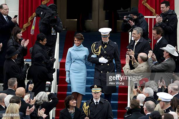 Melania Trump arrives on the West Front of the US Capitol on January 20 2017 in Washington DC In today's inauguration ceremony Donald J Trump becomes...