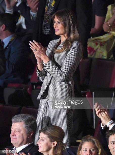 Melania Trump attends the Opening Ceremony of the Invictus Games Toronto 2017 at the Air Canada Arena on September 23 2017 in Toronto Canada The...