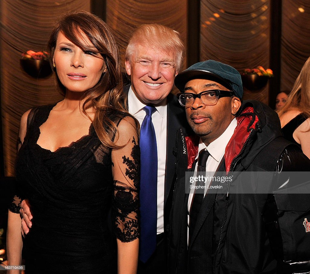 Melania Trump, businessman/TV personality Donald Trump, and filmmaker Spike Lee attend The New York Observer 25th Anniversary Party at Four Seasons Restaurant on March 14, 2013 in New York City.
