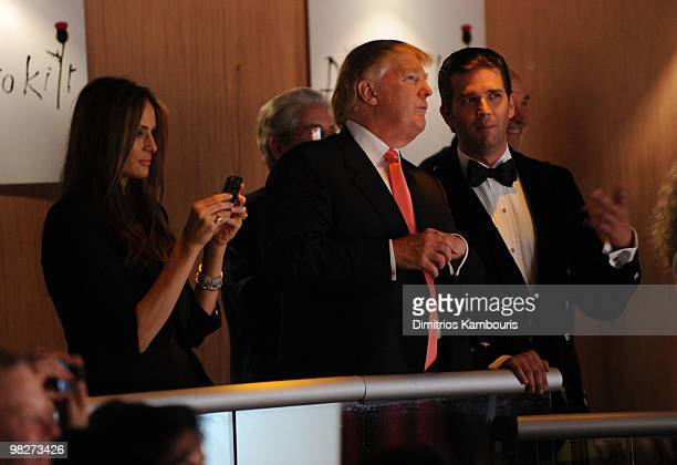 Melania Trump Donald Trump and Donald Trump Jr attend the 8th annual 'Dressed To Kilt' Charity Fashion Show at M2 Ultra Lounge on April 5 2010 in New...