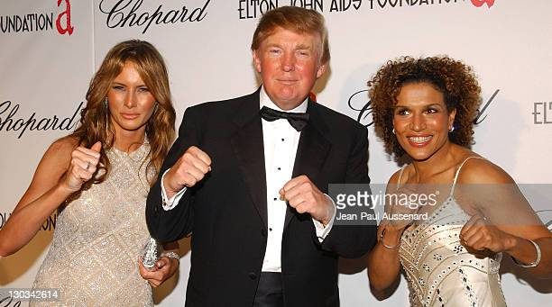 Melania Trump Donald Trump and Lucia Rijker during 13th Annual Elton John AIDS Foundation Oscar Party Cohosted by Chopard Arrivals at Pacific Design...