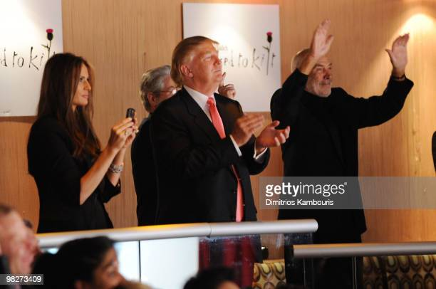 Melania Trump Donald Trump and Sean Connery attend the 8th annual 'Dressed To Kilt' Charity Fashion Show at M2 Ultra Lounge on April 5 2010 in New...