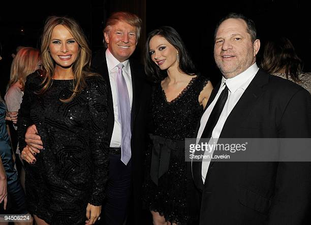 Melania Trump Donald Trump Georgina Chapman and Harvey Weinstein attend the after party of the New York premiere of 'NINE' at the M2 Ultra Lounge on...