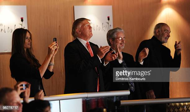 Melania Trump Donald Trump guest and Sean Connery attend the 8th annual 'Dressed To Kilt' Charity Fashion Show at M2 Ultra Lounge on April 5 2010 in...