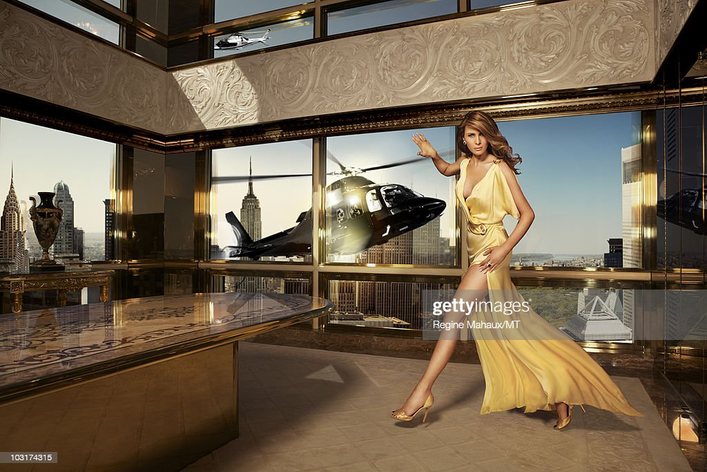 Image is a digital composite.) Melania Trump poses for a portrait on ...
