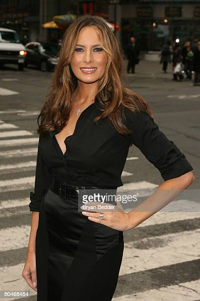 Melania Trump poses in Times Square after participating in the ringing of the NASDAQ stock market closing bell April 1 2008 in New York City