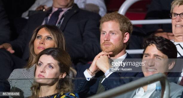 Melania Trump Prince Harry Sophie Gregoire Trudeau and Justin Trudeau attend the opening ceremony on day 1 of the Invictus Games Toronto 2017 on...