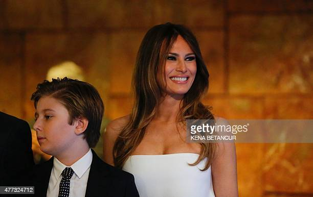 Melania Trump smiles after her husband real estate investor Donald Trump made his announcement that he will run for the 2016 presidential elections...