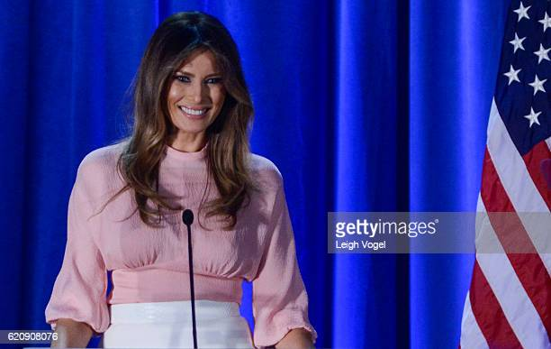 Melania Trump speaks at a rally for Donald Trump at the Main Line Sports Center on November 3 2016 in Berwyn Pennsylvania