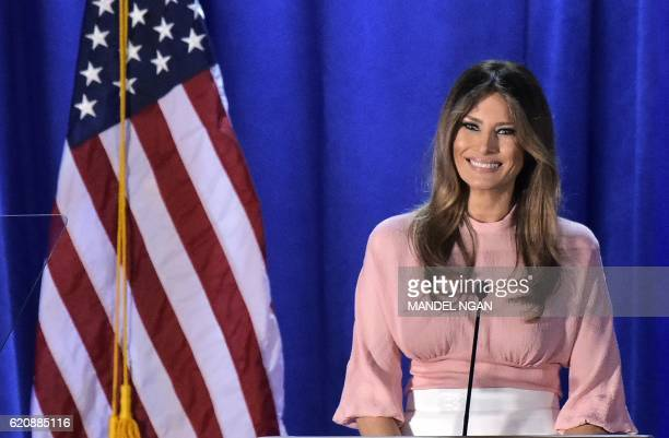 Melania Trump the wife of Republican presidential nominee Donald Trump speaks during a rally for her husband on November 3 2016 at the Main Line...
