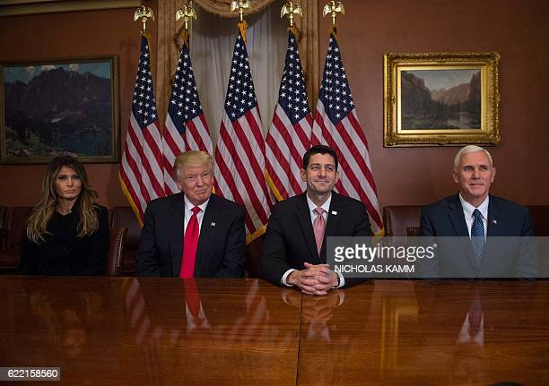 Melania Trump US Presidentelect Donald Trump House Speaker Paul Ryan and Vice Presidentelect Mike Pence meet at the US Capitol in Washington DC on...