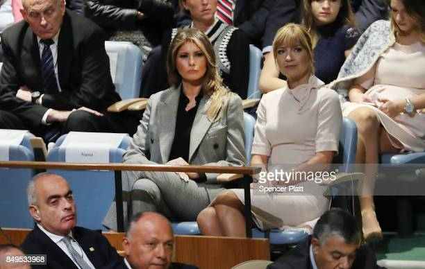 Melania Trump watches as her husband President Donald Trump speaks to world leaders at the 72nd United Nations General Assembly at UN headquarters in...