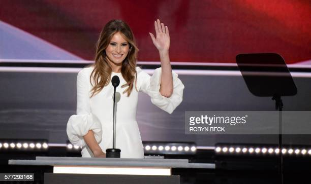 Melania Trump wife of presumptive Republican presidential candidate Donald Trump addresses delegates on the first day of the Republican National...