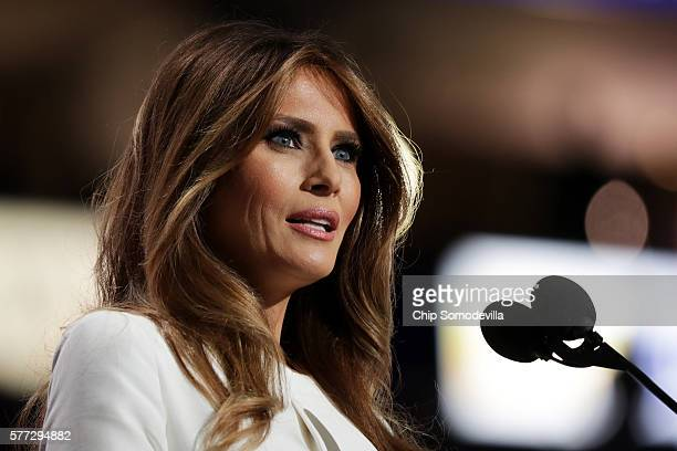 Melania Trump wife of Presumptive Republican presidential nominee Donald Trump delivers a speech on the first day of the Republican National...