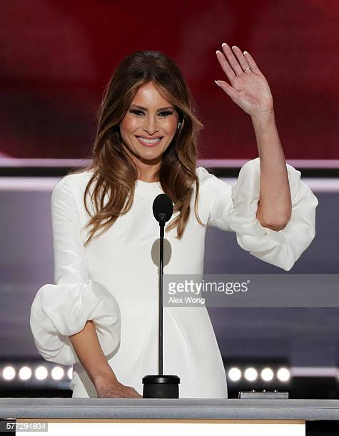Melania Trump wife of Presumptive Republican presidential nominee Donald Trump waves to the crowd after delivering a speech on the first day of the...