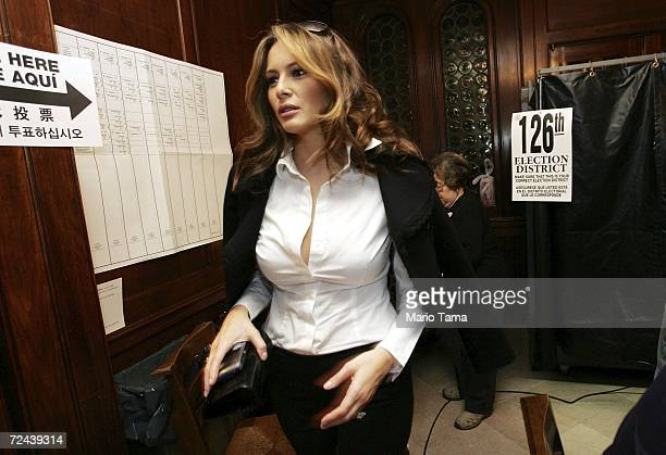Melania Trump wife of real estate mogul Donald Trump leaves a Park Avenue polling station after casting her ballot November 7 2006 in New York City...