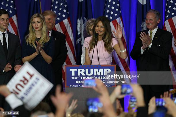 Melania Trump wife of Republican presidential candidate Donald Trump speaks at his election night party February 20 2016 in Spartanburg South...