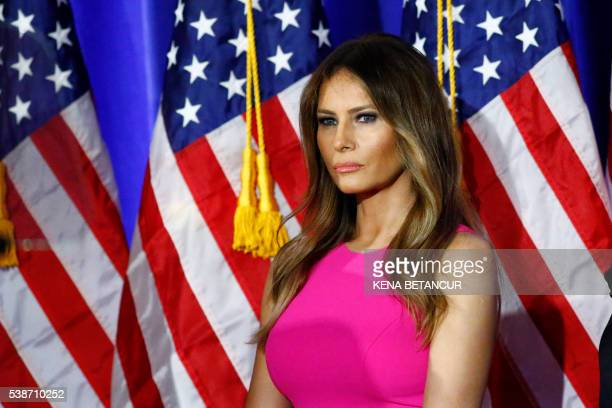 Melania Trump wife of Republican presidential candidate Donald Trump listens as her husband delivers remarks following primaries in California...