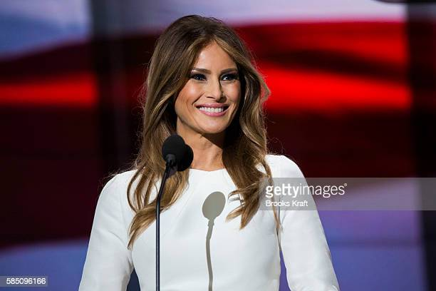 Melania Trump wife of Republican presidential nominee Donald Trump arrives to speak on the first day of the Republican National Convention on July 18...
