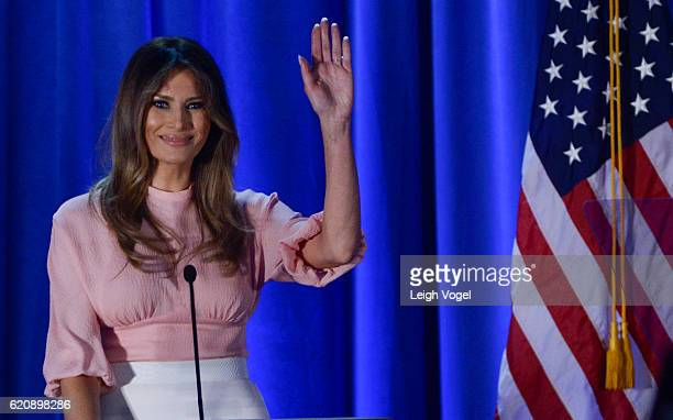 Melania Trump wife of Republican presidential nominee Donald Trump campaigns at a rally for Donald Trump at the Main Line Sports Center on November 3...