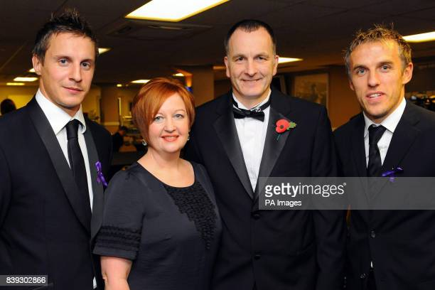 Melanie and Stephen Jones the parents of murdered schoolboy Rhys Jones with Everton footballers Phil Jagielka and Phil Neville at the Liverpool...