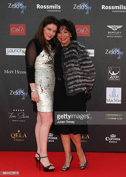 Melanie Antoinette de Massy poses with Shirley Bassey during the ATP Monte Carlo Rolex Masters Launch Party at the Grimaldi Forum on April 12 2014 in...