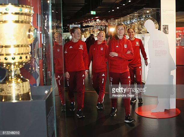 Melanie Behringer Leonie Maier Nora Holstad and Gina Lewandowski of FC Bayern Muenchen visit the FCB Erlebniswelt club museum to handover their 2015...