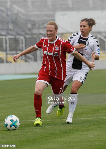 Melanie Behringer of Bayern Muenchen in action during the women Bundesliga match between Bayern Muenchen and SC Freiburg at Stadion an der...