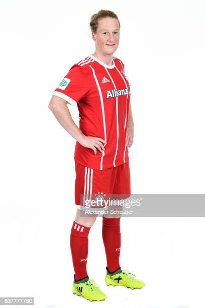 Melanie Behringer of Bayern Muenchen poses during the Allianz Frauen Bundesliga Club Tour at FC Bayern Muenchen Campus on August 20 2017 in Munich...