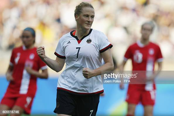 Melanie Behringer of Germany celebrates after scoring her team's first goal the Women's Semi Final match between Canada and Germany on Day 11 of the...