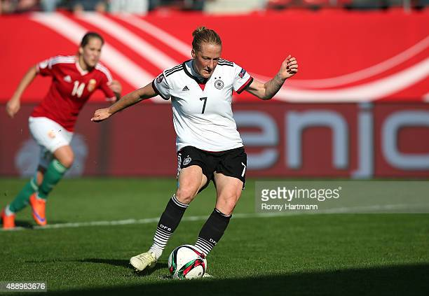 Melanie Behringer of Germany scores the fourth goal from the penalty spot the UEFA Women's Euro 2017 Qualifier between Germany and Hungary at Erdgas...