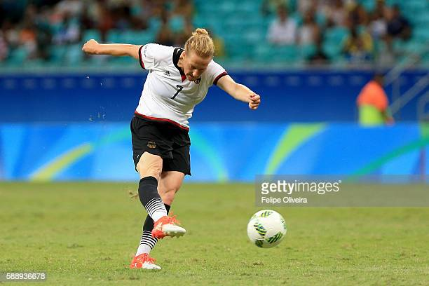 Melanie Behringer of Germany scores the opening goal during the Women's Football Quarterfinal match between China and Germany on Day 7 of the Rio...