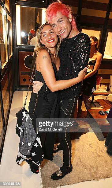 Melanie Blatt and Kyle De'volle attend the Ara Vartanian store opening party on Bruton Place on September 7 2016 in London England