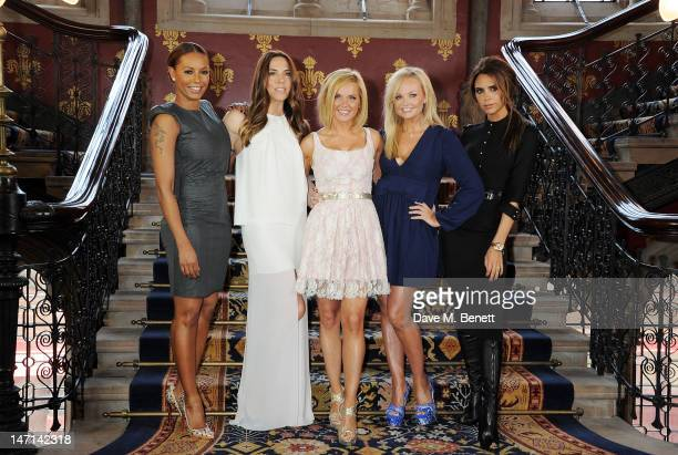 Melanie Brown aka Mel B Melanie Chisholm aka Mel C Geri Halliwell Emma Bunton and Victoria Beckham pose at the press launch of 'Viva Forever' a new...