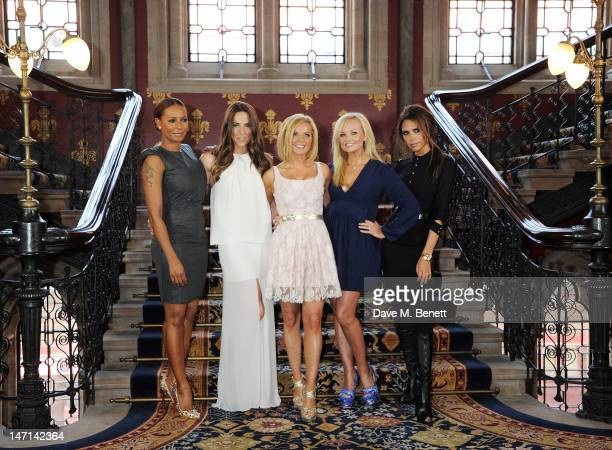 Melanie Brown aka Mel B Melanie Chisholm aka Mel C Geri Halliwell Emma Bunton and Victoria Beckham pose at the press launch of 'Viva Forever' a new...