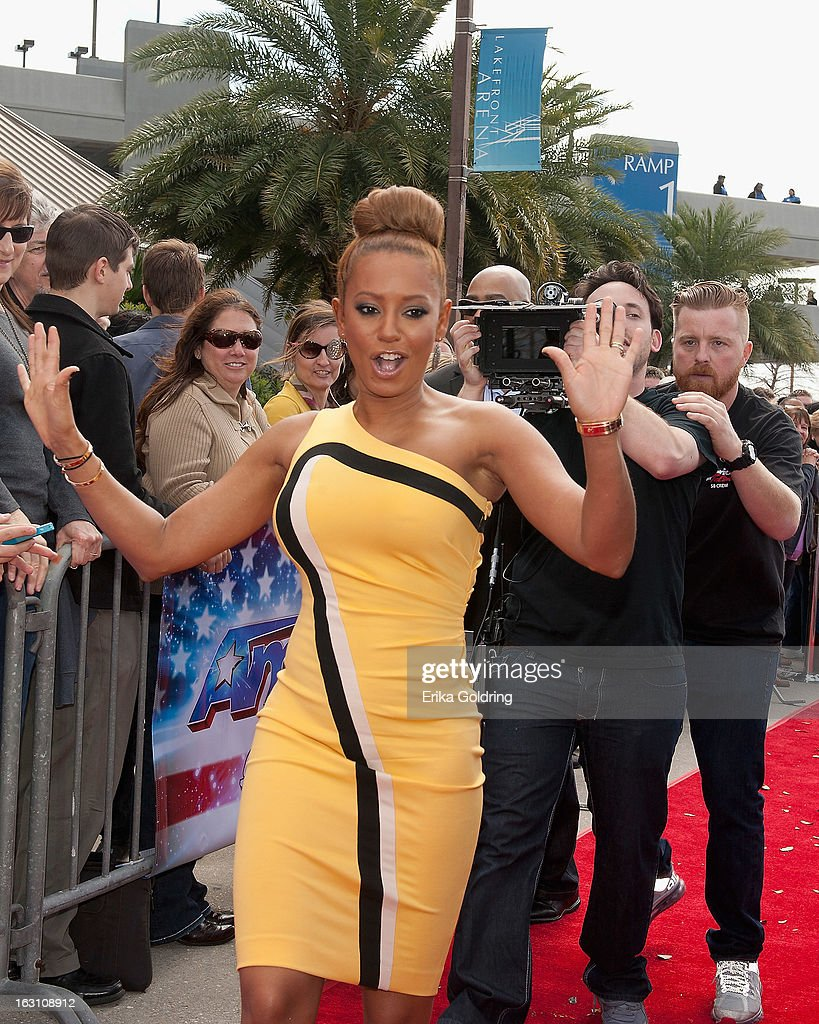 <a gi-track='captionPersonalityLinkClicked' href=/galleries/search?phrase=Melanie+Brown&family=editorial&specificpeople=159736 ng-click='$event.stopPropagation()'>Melanie Brown</a> aka Mel B of the Brit-pop girl group Spice Girls attends the 'America's Got Talent' New Orleans auditions as a judge at UNO Lakefront Arena on March 4, 2013 in New Orleans, Louisiana.