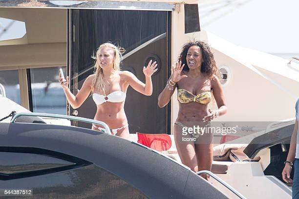 Melanie Brown and nanny Lorraine Gilles enjoy a day out on a yacht on July 3 2016 in Ibiza Spain