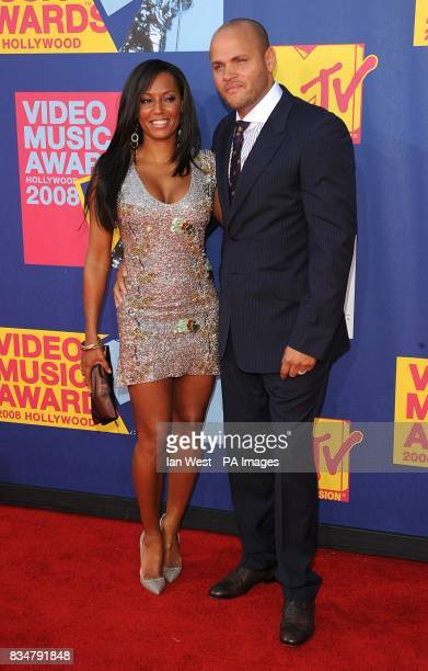 Melanie Brown and Stephan Belafonte arrive for the MTV Video Music Awards 2008 at Paramount Studios Hollywood Los Angeles California