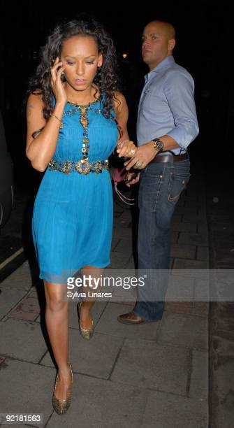 Melanie Brown and Stephen Belafonte are seen leaving May Fair Hotel on October 21 2009 in London England