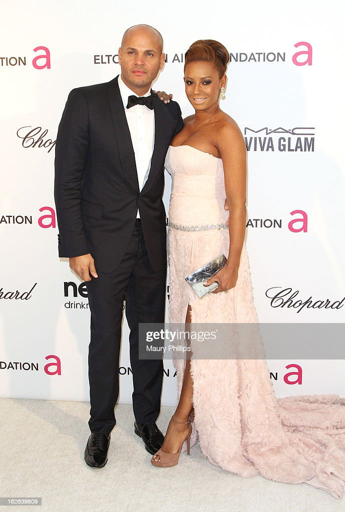 Melanie Brown (R) and Stephen Belafonte arrive at the 21st Annual Elton John AIDS Foundation Academy Awards Viewing Party at Pacific Design Center on February 24, 2013 in West Hollywood, California.