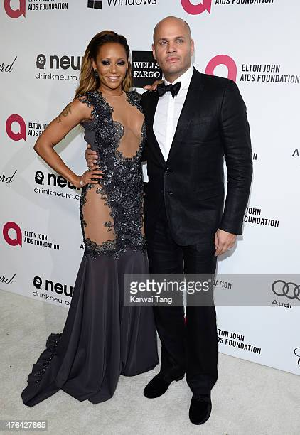 Melanie Brown and Stephen Belafonte arrive for the 22nd Annual Elton John AIDS Foundation's Oscar Viewing Party held at West Hollywood Park on March...