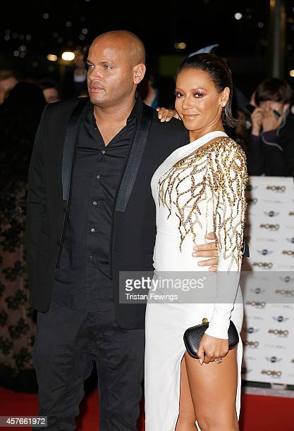 Melanie Brown and Stephen Belafonte attend the MOBO Awards at SSE Arena on October 22 2014 in London England