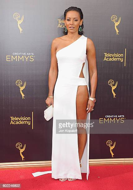 Melanie Brown arrives at the 2016 Creative Arts Emmy Awards at Microsoft Theater on September 10 2016 in Los Angeles California