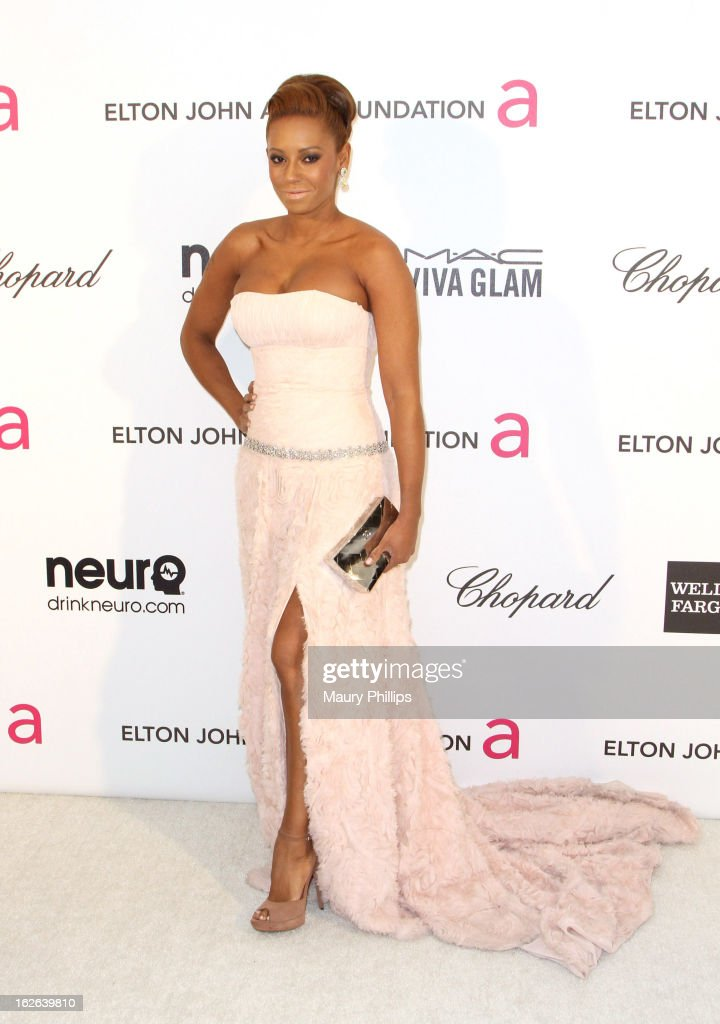 Melanie Brown arrives at the 21st Annual Elton John AIDS Foundation Academy Awards Viewing Party at Pacific Design Center on February 24, 2013 in West Hollywood, California.
