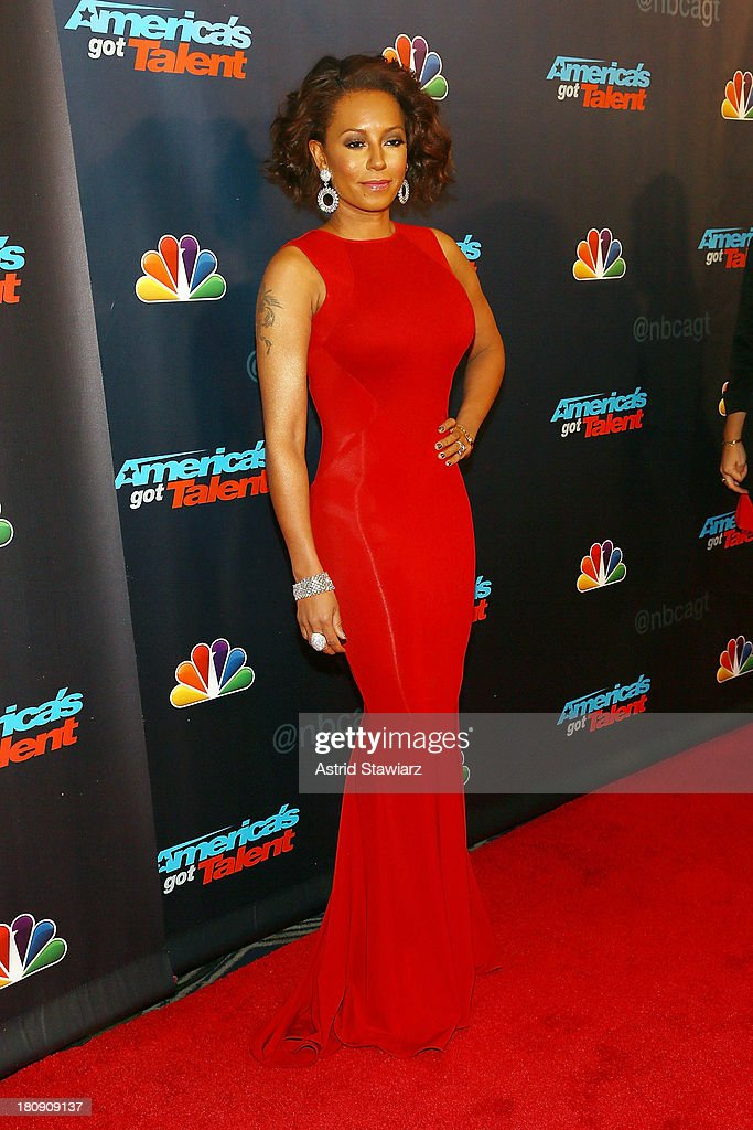 <a gi-track='captionPersonalityLinkClicked' href=/galleries/search?phrase=Melanie+Brown&family=editorial&specificpeople=159736 ng-click='$event.stopPropagation()'>Melanie Brown</a> (shoe detail) attends 'America's Got Talent' Season 8 Pre-Show Red Carpet Event at Radio City Music Hall on September 17, 2013 in New York City.