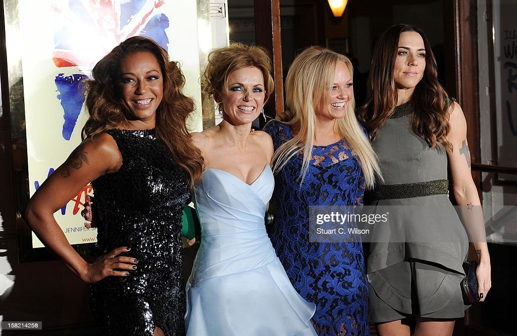 Melanie Brown, Emma Bunton, Geri Halliwell and Melanie Chisholm attend the press night of 'Viva Forever', a musical based on the music of The Spice Girls at Piccadilly Theatre on December 11, 2012 in London, England.