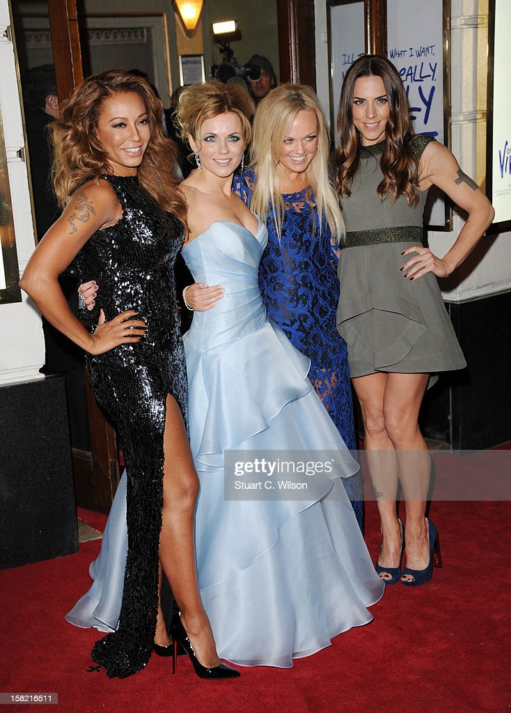 Melanie Brown, Geri Halliwell, Emma Bunton and Melanie Chisholm attend the press night of 'Viva Forever', a musical based on the music of The Spice Girls at Piccadilly Theatre on December 11, 2012 in London, England.