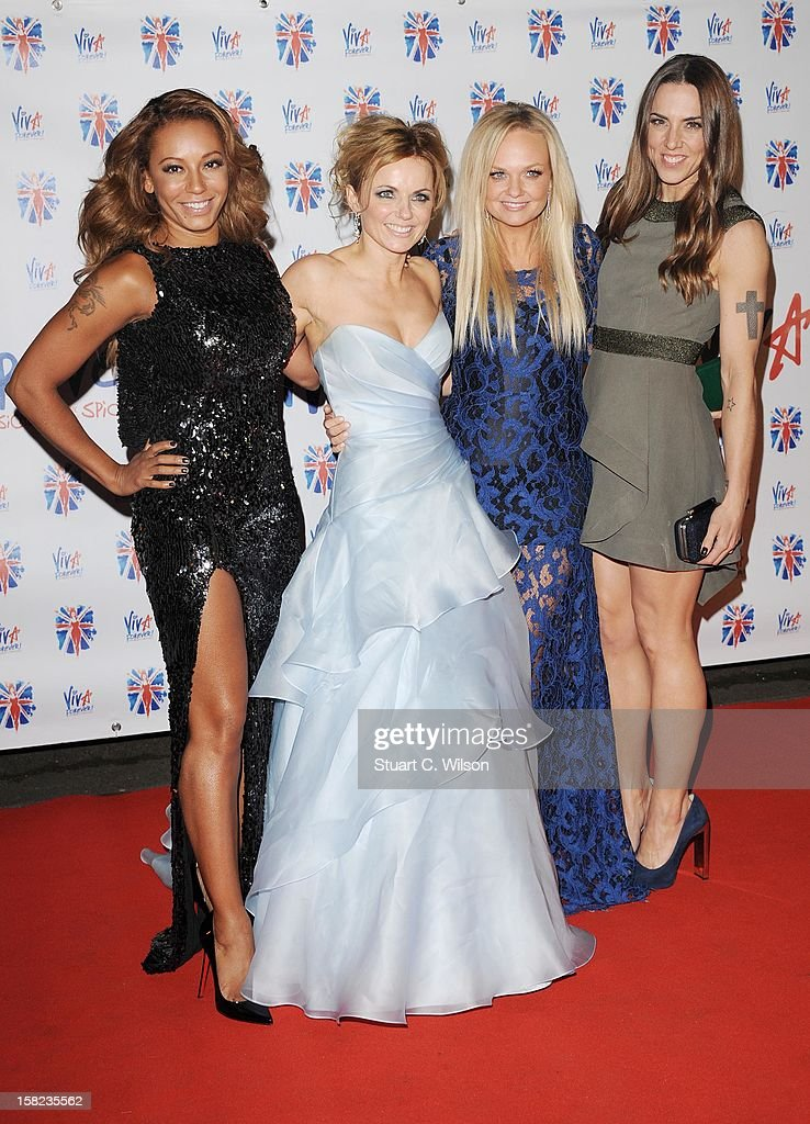 <a gi-track='captionPersonalityLinkClicked' href=/galleries/search?phrase=Melanie+Brown&family=editorial&specificpeople=159736 ng-click='$event.stopPropagation()'>Melanie Brown</a>, Geri Halliwell, <a gi-track='captionPersonalityLinkClicked' href=/galleries/search?phrase=Emma+Bunton&family=editorial&specificpeople=201973 ng-click='$event.stopPropagation()'>Emma Bunton</a> and <a gi-track='captionPersonalityLinkClicked' href=/galleries/search?phrase=Melanie+Chisholm&family=editorial&specificpeople=159737 ng-click='$event.stopPropagation()'>Melanie Chisholm</a> attend the after party for the press night of 'Viva Forever', a musical based on the music of The Spice Girls at Victoria Embankment Gardens on December 11, 2012 in London, England.